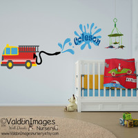 Fire truck wall decal, nursery decals, boys wall decal, nursery wall decal, pesonalized wall decal, kids wall decal, boys room decor