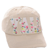 Floral Hey Ya'll Distressed Cotton Baseball Cap Hat Stone, Embroidered On Torn Denim Decor