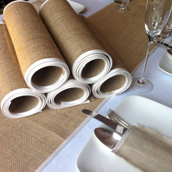 Ivory satin edged Burlap Wedding Table Runners - Set of 6