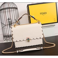 FENDI WOMEN'S LEATHER KAN I HANDBAG INCLINED CHAIN SHOULDER BAG