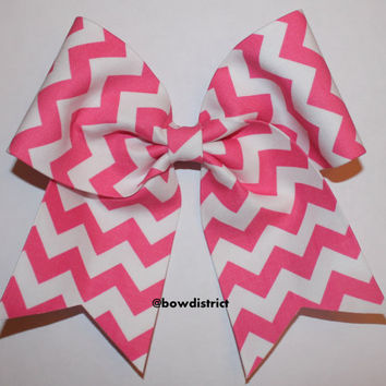 """3"""" Pink and White Chevron Cheer Bow"""