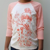 Sale Teen Kawaii Sakura Girl (cherry Blossom) baseball T with peach print