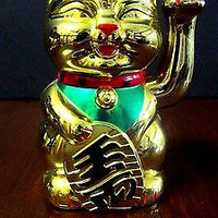 RARE eyes close Feng Shui GOLD CAT Wealth Lucky Waving arm battery powered 5.5''