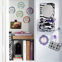Gear-Up Black Zebra Mirror With Removable Pouch