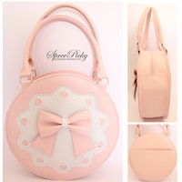 Lolita Bowknot Round Cylinder PU Hand Bag free shipping SP140345