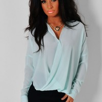 Whisper Mint Green Chiffon Wrap Style Blouse | Pink Boutique