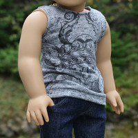 18 inch doll clothes, grey graphic knit tank top and denim skinny jeans, american girl, maplelea