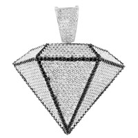 Diamond Design Pendant White Gold Finish Lab Diamond