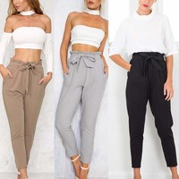 US Women's Casual Harem Pants Lady Elastic High Waist Cropped Length Trousers