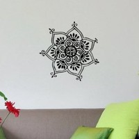Lotus Flower Patterns Indian Design Wall Vinyl Decal Art Sticker Home Modern Stylish Interior Decor for Any Room Smooth and Flat Surfaces Housewares Murals Graphic Bedroom Living Room (2010)