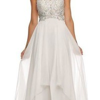 Layered Strapless Sweetheart Neckline Off White Prom Dress