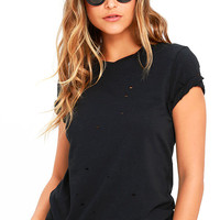 In the Raw Distressed Washed Black Tee