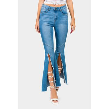 High Waist Front Slit Flare Jeans