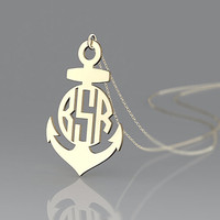 New anchor plated in gold   necklace jewelry customized with 1 inch monogram