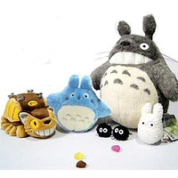 2017 NEW 6pcs Stuffed Animals My Neighbor Totoro Family Plush Set Pelucia Kids Toys Upgrade Ghibli CATBUS Peluche