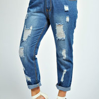 Jane Ripped Midwash Boyfriend Jean