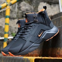 Sale Nike Air Huarache X Acronym City Customise MID Leather Sport Shoes Black Orange