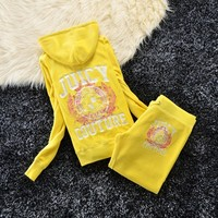 Juicy Couture Los Angeles Logo Velour Tracksuit 6036 2pcs Women Suits Yellow