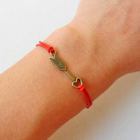 Bangle arrow wrist bracelet ropes bracelet women bracelet girls bracelet with bronze arrow and red ropes wrist bracelet   sh-110