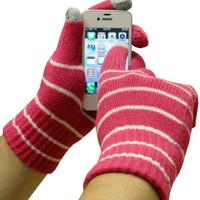 Text Gloves - Pair of Texting Glove For Touch Screen Phones (two tone pink)