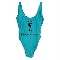 YSL Yves Saint Laurent Popular Summer Beach Sexy Ladies Letter Print Vest Style U Collar One Piece Bikini Swimwear Bathing Multicolor Blue I-ZDY-AK
