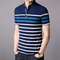 Cotton T Shirt Men Short Sleeve T-Shirt Men Summer Social Business Casual Men's T-Shirts Striped Tee Shirt Homme