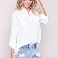 WHITE AIRY WOVEN BUTTON UP BLOUSE