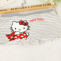 2016  New Hello Kitty Stripe Underwear Women Lingerie Calcinhas Panties