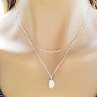 Double, Layered, Gold filled, Sterling silver, Pearl, Necklace