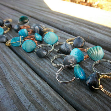 Summer Shell Rings Black Shell Rings Blue Shell Rings Wire Wrapped Rings Silver Rings Gold Rings Copper Rings Cottage Chic Bohemian Jewelry