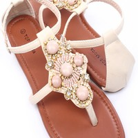 BEIGE FAUX LEATHER EMBELLISHED THONG SANDALS