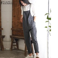 Casual Cotton Sleeveless Strap Jumpsuit