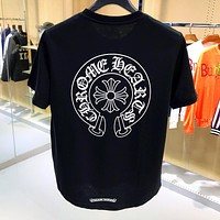 Chrome Hearts Summer Fashion Men Casual Print T-Shirt Top Black