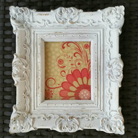 Vintage Upcycled Homco Shabby Chic Hanging Picture Frame,French Country, Wall Decor