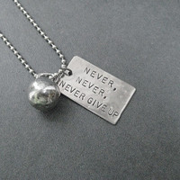 NEVER, NEVER, NEVER Give Up Kettle Bell Workout Necklace - Workout Necklace on 24 inch Stainless Steel Ball chain - Unisex Workout Necklace
