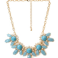 FOREVER 21 Floral Faux Gemstone Necklace Blue/Gold One