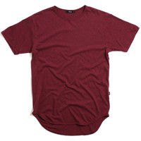 Tri-Blend Round Bottom Long T-Shirt Maroon