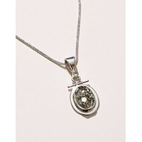 Natural Pyrite and Green Amethyst Pendant Necklace