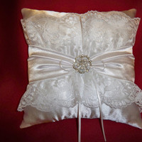 """Ring Bearer Pillow - White Satin with Sash - 10"""" x 10"""" - Pearl & Rhinestone Center Button - Lace"""