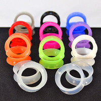 Thin Silicone Ear Skin Flexible Flesh Tunnels Plugs Ear Gauge Earlets ~11 Pairs~