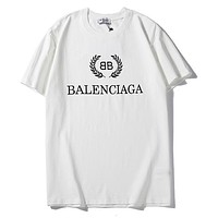 Balenciaga hot seller of casual short-sleeved t-shirts with fashionable monogram prints for couples White
