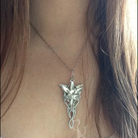 Evenstar Necklace. Inspired by Arwen Evenstar, Lord of the Rings inspired cosplay jewelry. Elf jewelry. LOTR, fantasy fiction silver jewelry
