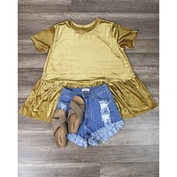 On The Road Peplum Velvet Tee in Mustard