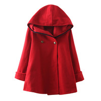 Wool Coat Ponchos and Capes Female Hooded Jacket Casual Trench