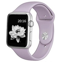 Apple Watch Band 42mm Soft Silicone Replacement Sport Strap iWatch Band for Apple Watch 42mm Model - Small/Medium - Lavender