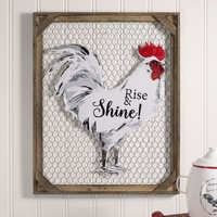 "Farm House Country Style ""Rise & Shine!"" Chicken Wall Décor with Chicken Wire"