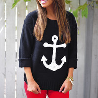 Anchor To My Heart Sweater: Black | Hope's