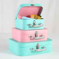 Kids Storage: Pink and Peach Storage Suitcases in Storage Collections | The Land of Nod