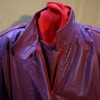Vintage Leather Jacket - deep blue ground with red dots creating purple tone.
