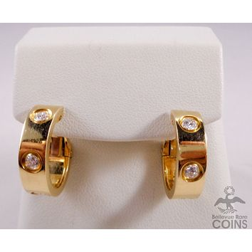 Cartier Diamond Gold LOVE Hoop Earrings 18K